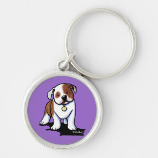 Olde English Bulldogge Silver-Colored Round Key Ring
