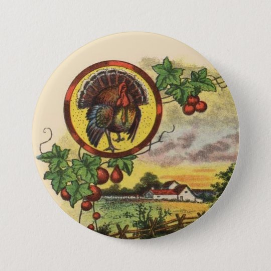 Olde Tyme Tom Turkey Thanksgiving Button Pin