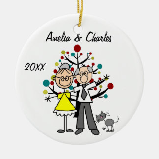 Older Couple with Cat Custom Holiday Ornament