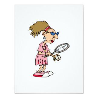 Older Tennis Lady 11 Cm X 14 Cm Invitation Card