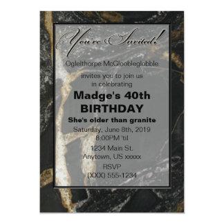 """older than granite"" Customizable B'day INVITATION"
