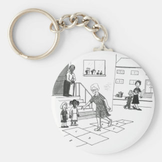 Older woman skips playing hopscotch with kids basic round button key ring