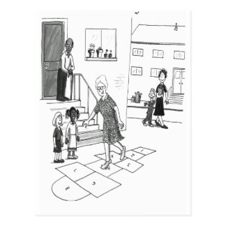 Older woman skips playing hopscotch with kids postcard