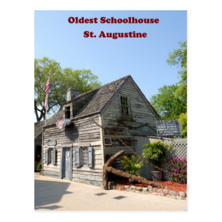 oldest wooden school house postcard