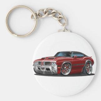 Olds Cutlass 442 Maroon Car Basic Round Button Key Ring