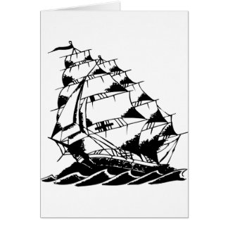 Olds Skool Tattoo Sailing Ship Navy Greeting Card