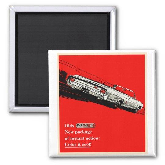 Oldsmobile 442 vintage advertisement square magnet
