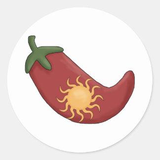 Ole!  Sun Stuffed Red Chili Pepper Round Sticker