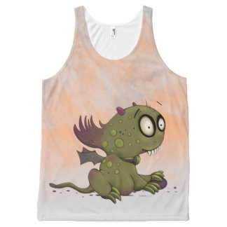 OLEZO MONSTER CARTOON All-Over Printed Unisex Tank All-Over Print Tank Top