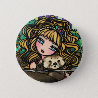 """Oliana's Otter"" Fantasy Mermaid Sea Otter Fairy 6 Cm Round Badge"