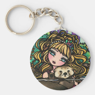 """Oliana's Otter"" Fantasy Mermaid Sea Otter Fairy Key Ring"
