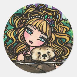 """Oliana's Otter"" Fantasy Mermaid Sea Otter Fairy Round Sticker"