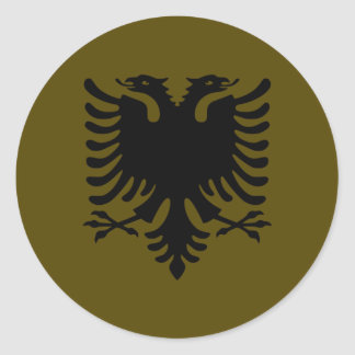 Olive Albanian Eagle Classic Round Sticker