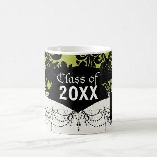 olive and black elegant ornate damask graduation basic white mug