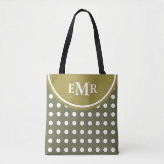Olive and Camo Green Polka Dot Monogram Tote Bag