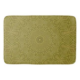 Olive and Gold Geometric Mandala Bath Mats