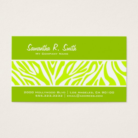 Olive and Lime Green Zebra Stripe Business Card