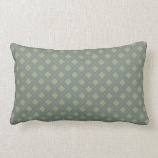 Olive and Sage Green Diamond Shapes Lumbar Cushion