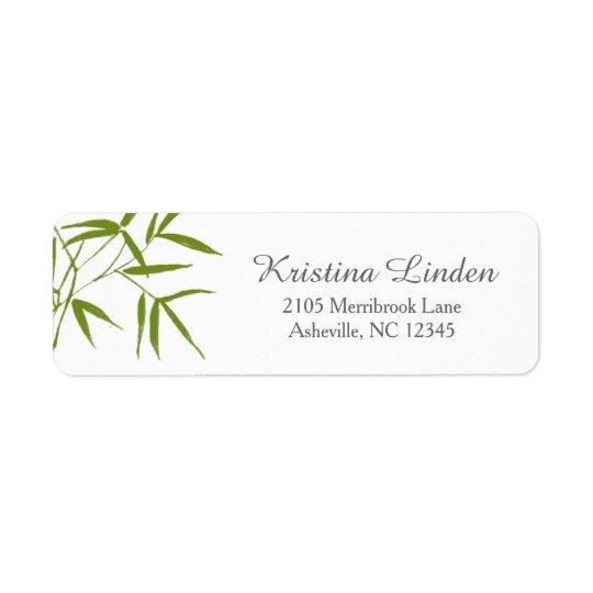 Olive Bamboo Return Address Label / Script Font