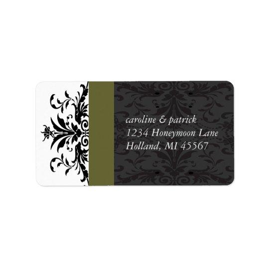 Olive Black Damask  Address Labels -