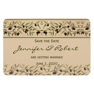 Olive Branch: A Tuscan Touch Save the Date Rectangular Photo Magnet