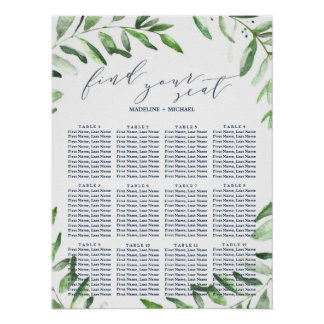 Olive Branch Boho Garden Wedding Seating Chart