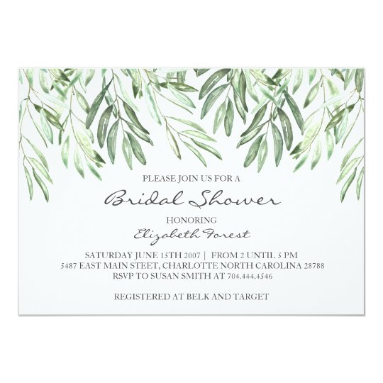 Olive Branch bridal shower invitation
