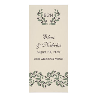Olive branch garland and wreath wedding menu card customized rack card