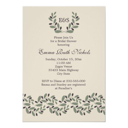 Olive branch garland wedding bridal shower card