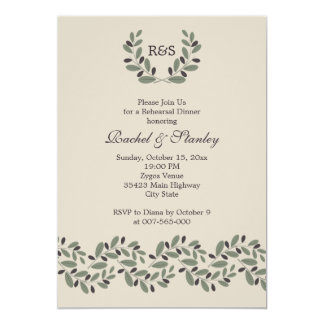 Olive branch garland wedding rehearsal dinner card