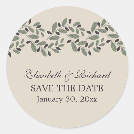 Olive branch garland wedding Save the Date Round