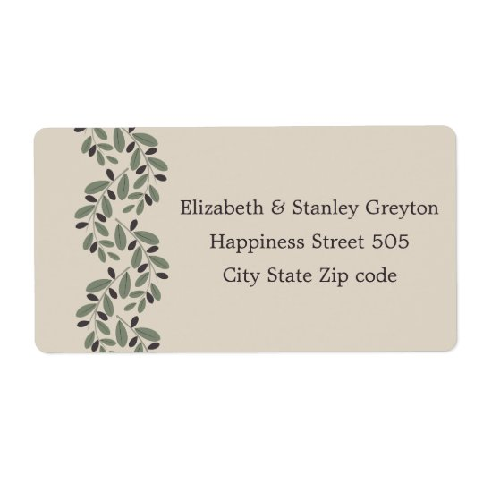 Olive branch garland wedding shipping label