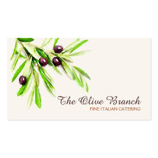 Olive Branch Italian or Greek Catering Chef 2 Double-Sided Standard Business Cards (Pack Of 100)