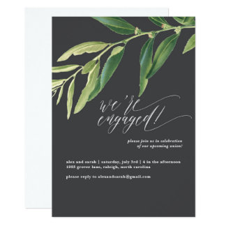 Olive Branch Moody Illustrated Engagement Party Card