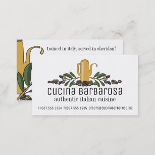 Italian business cards zazzle uk olive branch oil italian food chef catering business card colourmoves