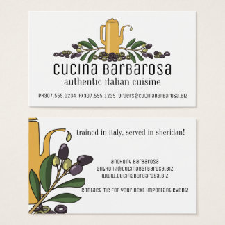 olive branch oil Italian food chef catering Business Card