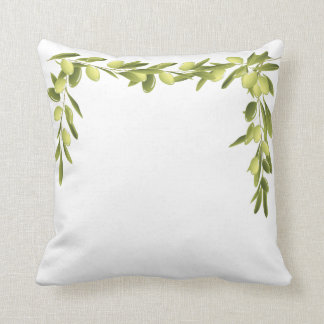 Olive Branch on White Leaves Olives Green pillow