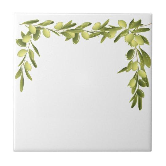 Olive Branch on White Leaves Olives Green tile