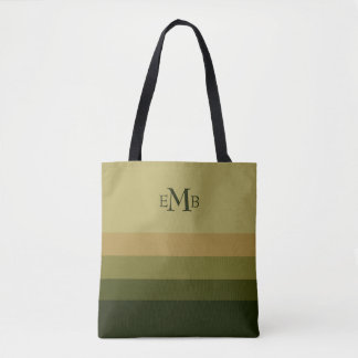 Olive Branch Palette Stripes Monogram Tote Bag