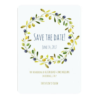 Olive Branch watercolor save the date card