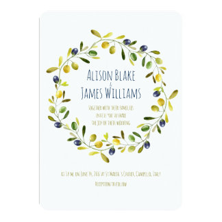 Olive Branch watercolor wedding invitation card