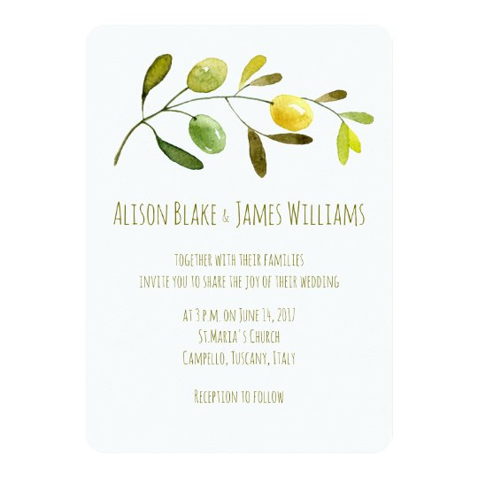 Olive Branch watercolor wedding invitation card