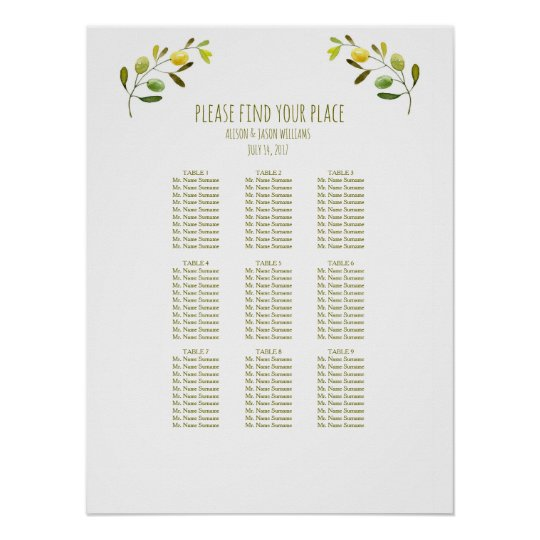 Olive branch wedding dinner seating chart