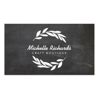 Olive Branch Wreath Logo on Chalkboard Background Pack Of Standard Business Cards