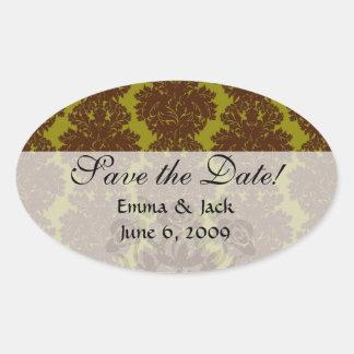 olive brown formal damask stickers