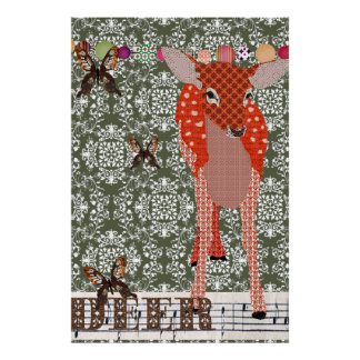 Olive Damask Amber Deer Poster