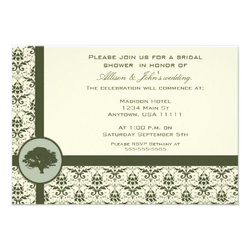 Olive Damask Oak Bridal Shower Invitation