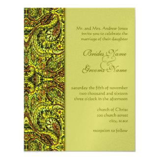 Olive Damask Paisley Wedding Invitations