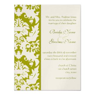 Olive Damask Wedding Invitations