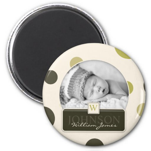 Olive Dot Print Birth Announcement Fridge Magnets